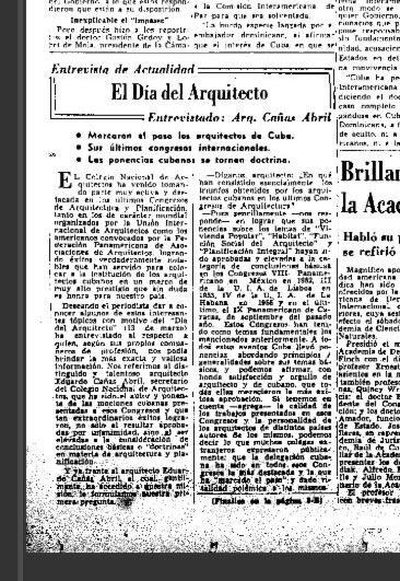 Día del Arquitecto Cubano. Año 1956