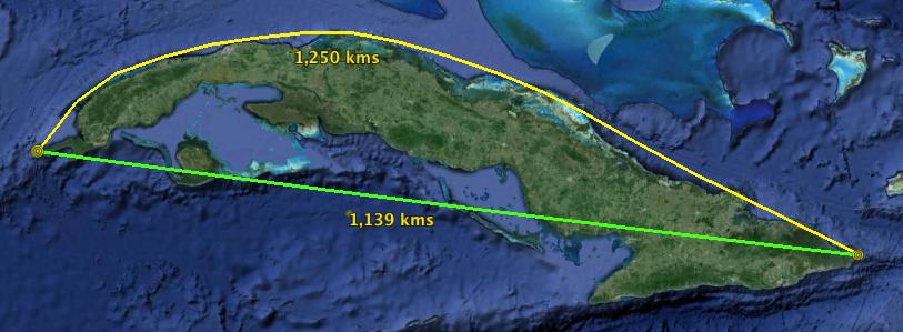 Longitudes de la Isla de Cuba
