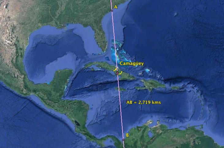 Cuba en el centro del mar Caribe.
